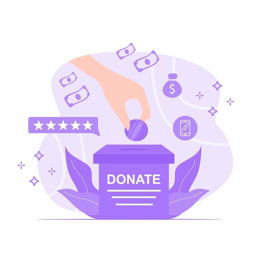 mano mettendo la moneta in una scatola di donazione vettore