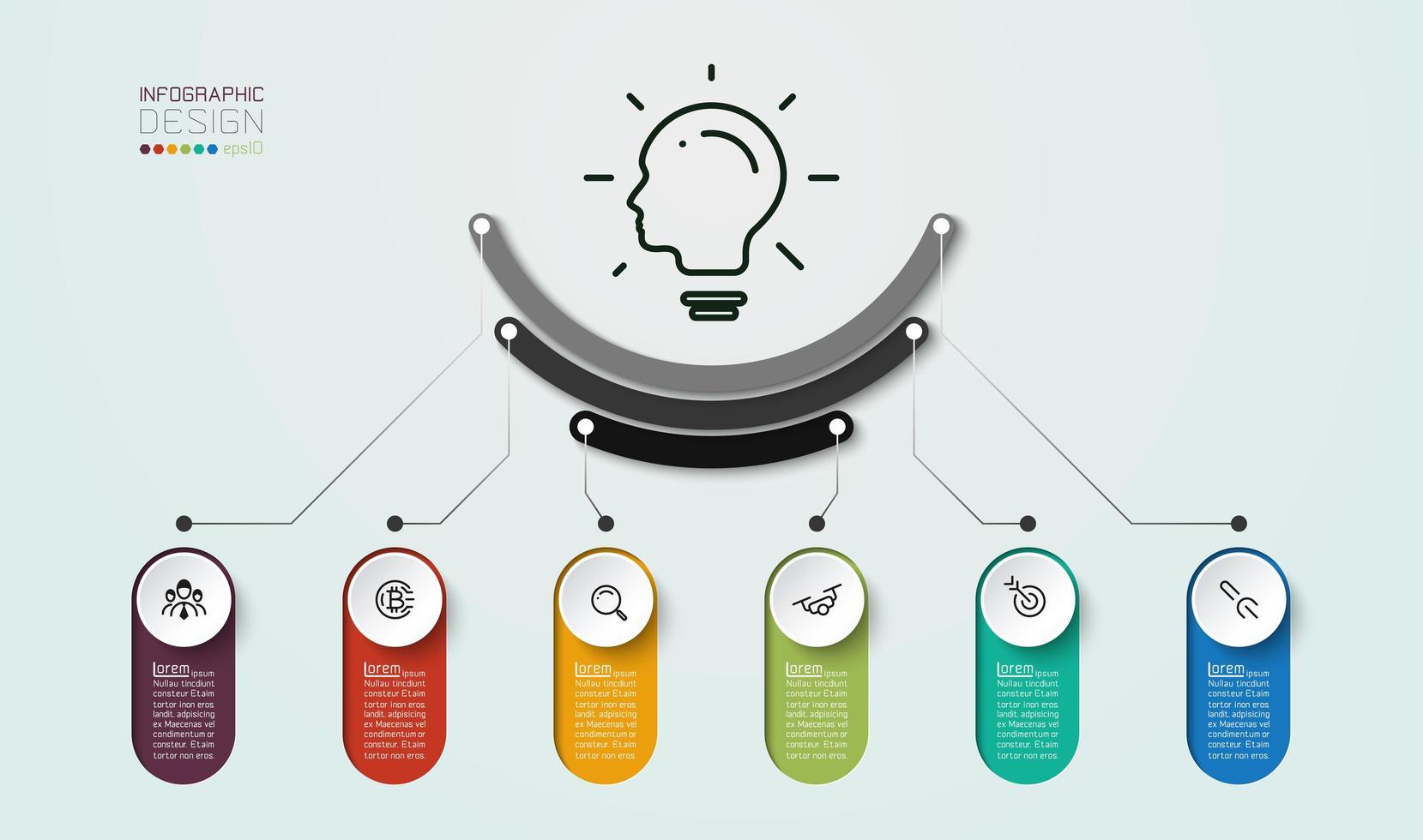 Diagramma in 6 passaggi da utilizzare con la pianificazione del marketing vettore