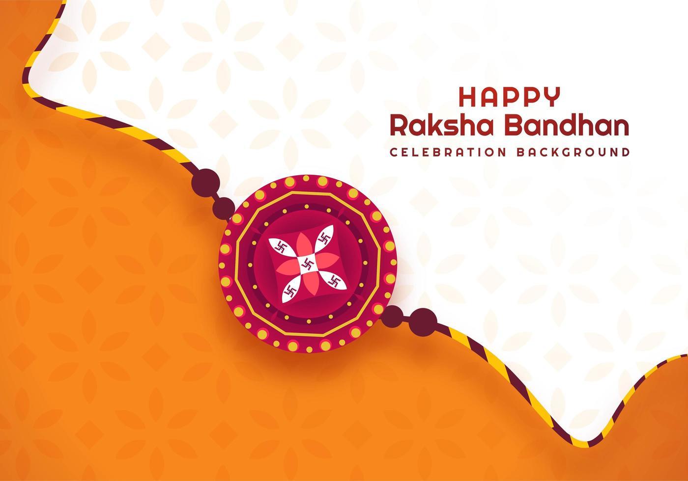 arancione e bianco raksha bandhan festival indiano design vettore