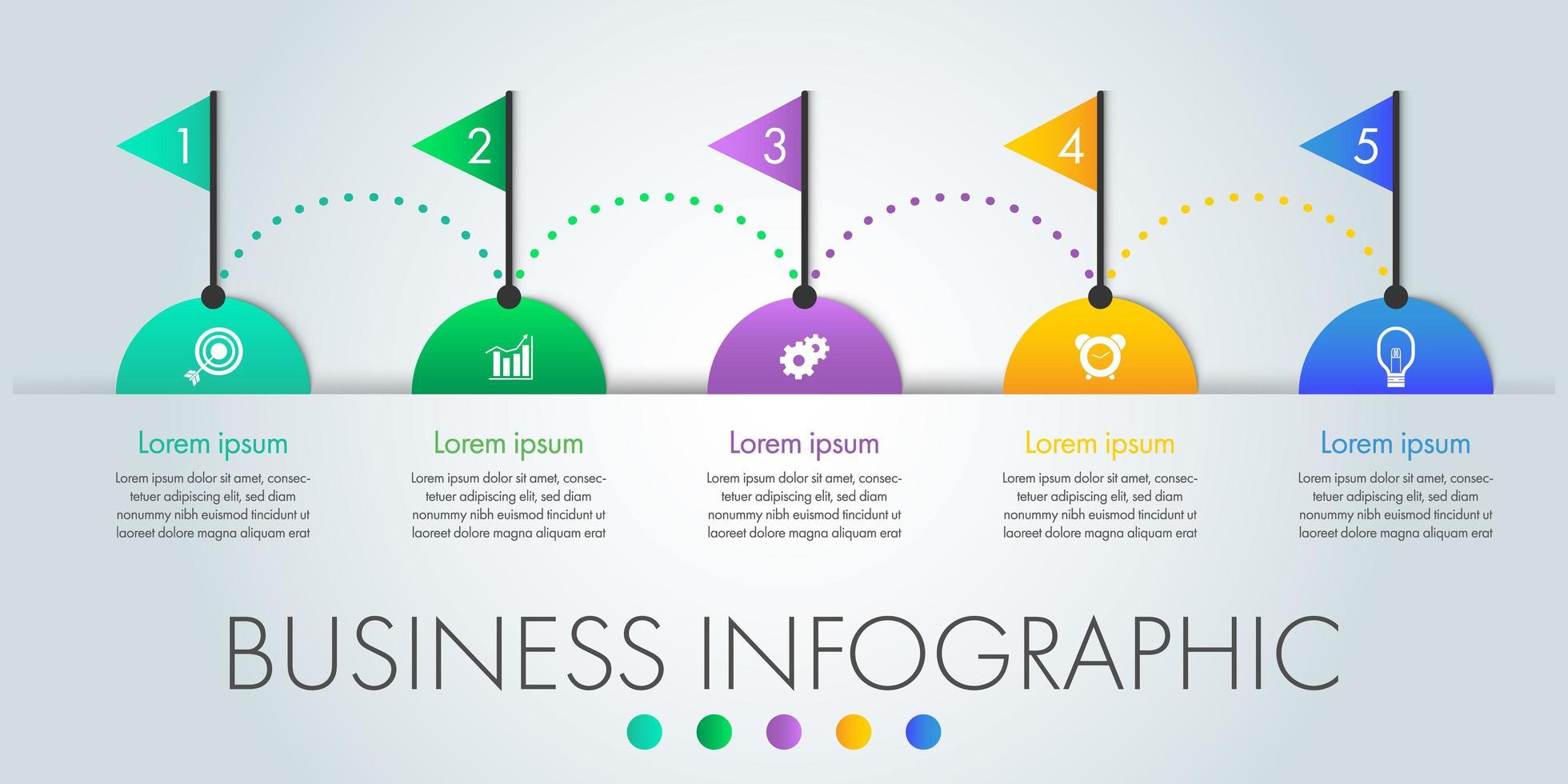5 passaggi semicerchio e bandiera affari infografica vettore