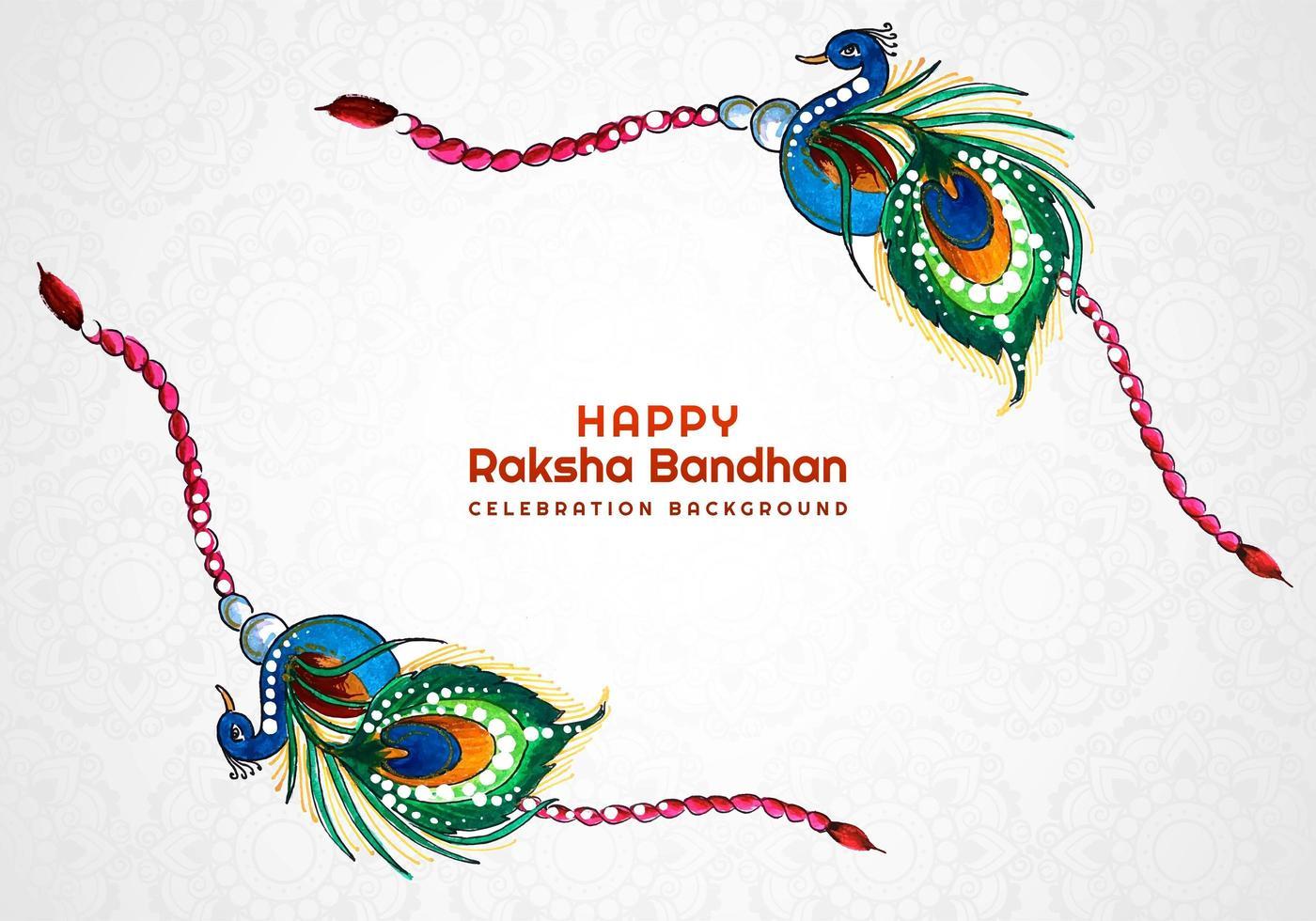 carta del braccialetto del pavone felice raksha bandhan vettore