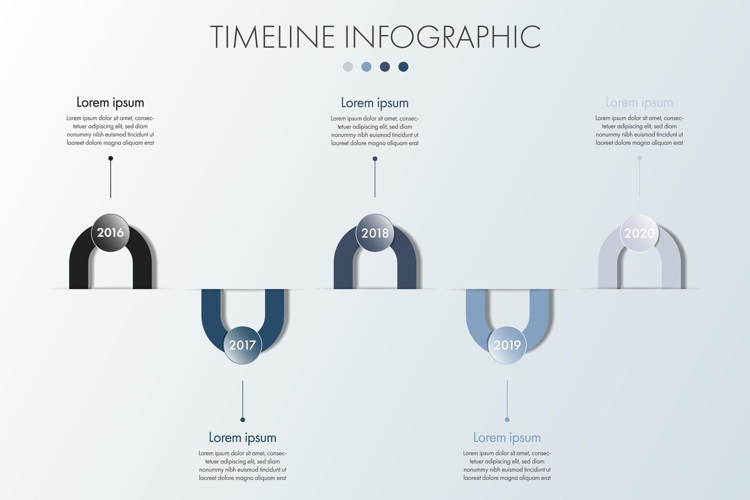 modello semplice infografica monocromatica timeline vettore