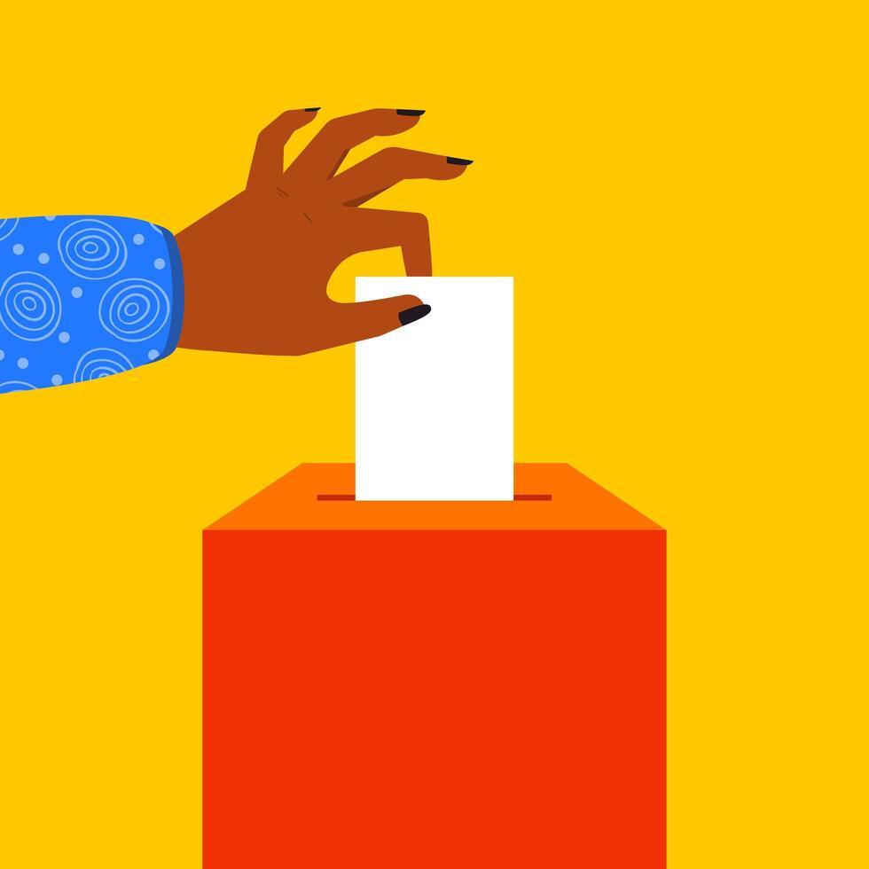 mano mettendo la carta elettorale nell'urna vettore