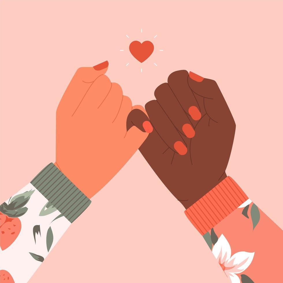 mani femminili facendo segno promessa mignolo vettore