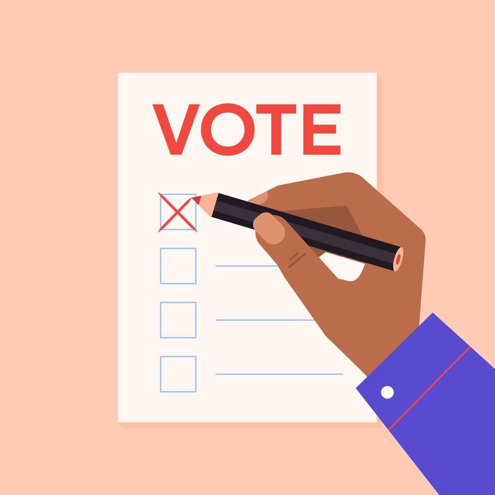voto a mano a scrutinio a matita rossa vettore