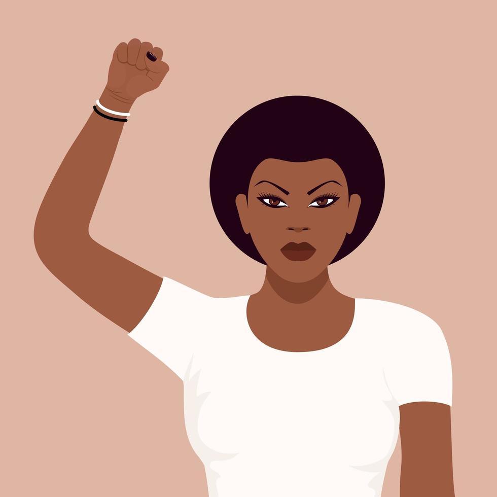 ritratto di un manifestante donna di colore vettore
