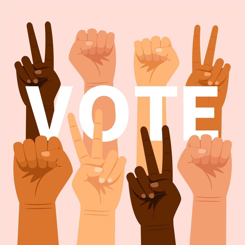 votazione scritta con gesti delle mani vettore