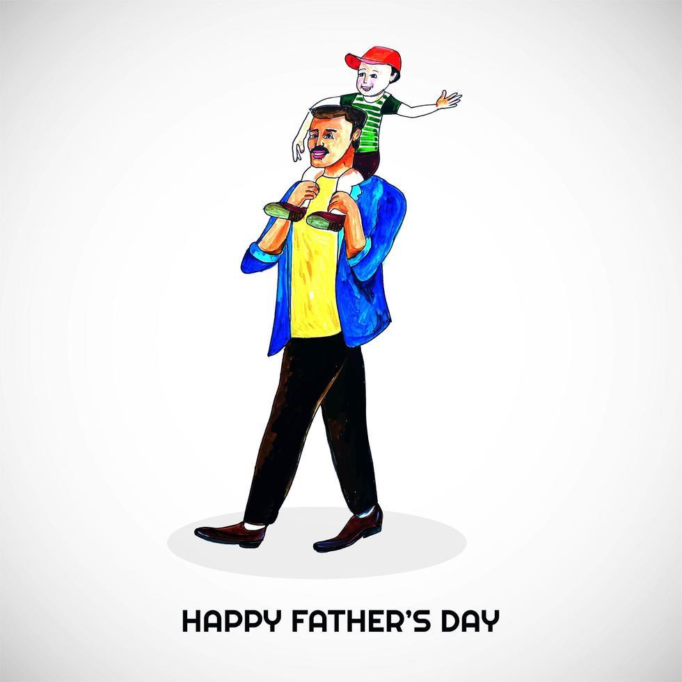 sfondo festa del papà con la scheda figlio e papà vettore