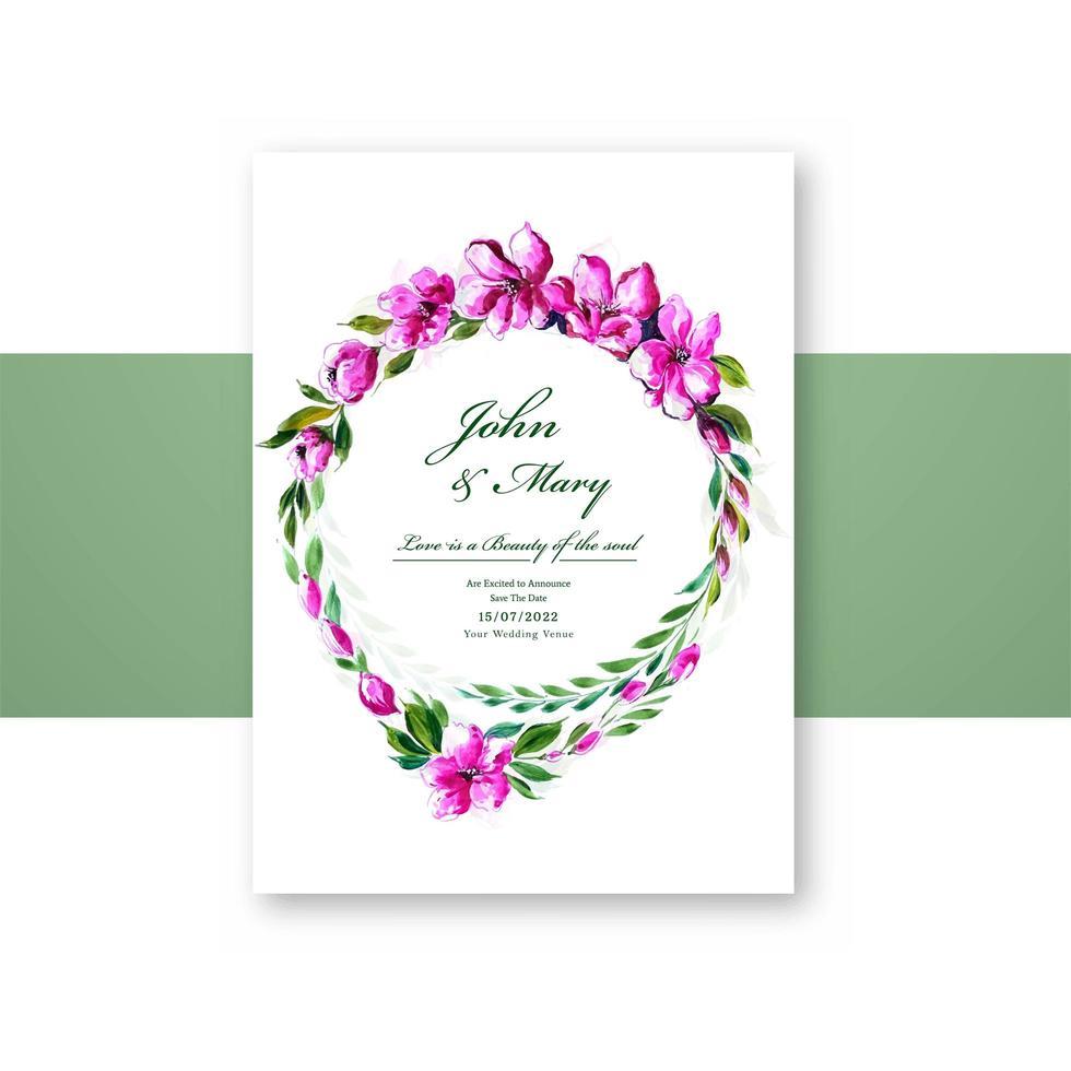 bellissimo invito a nozze corona floreale rosa vettore