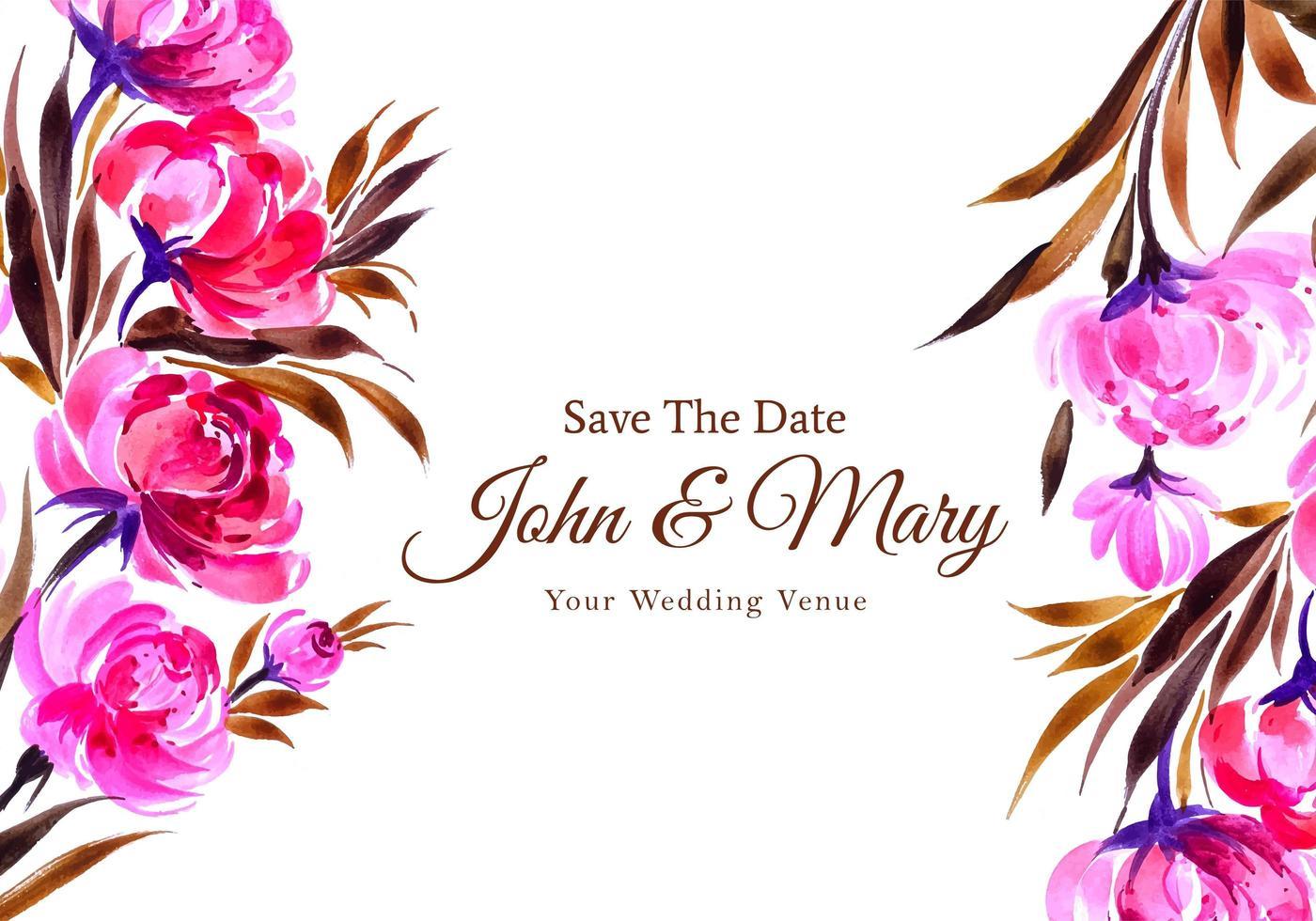 carta di fiori decorativi dell'acquerello dell'invito di nozze vettore