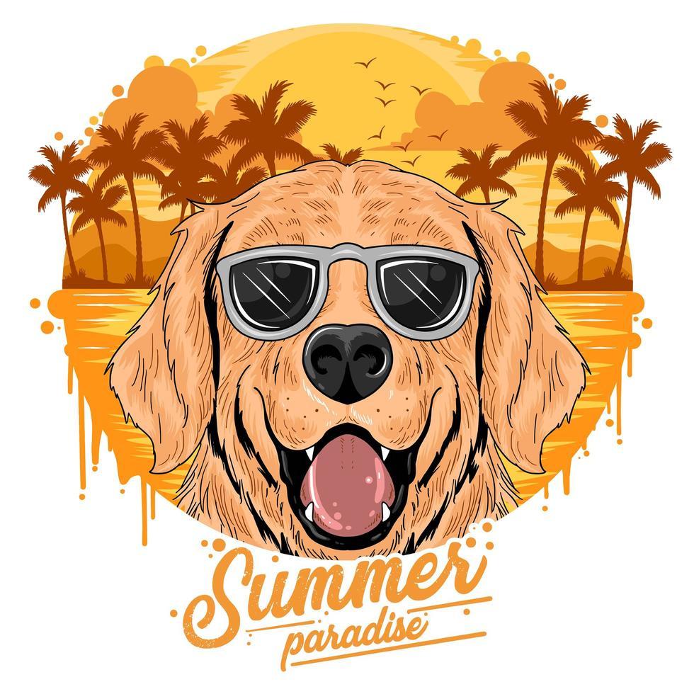 cani d'oro che indossano occhiali da sole vettore