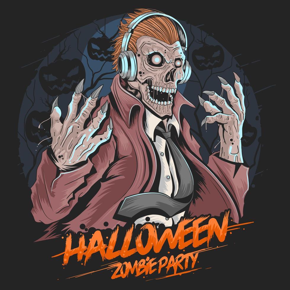 festa di musica con zombie teschio vettore