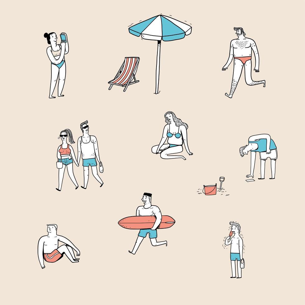 varie posture di persone sulla spiaggia vettore