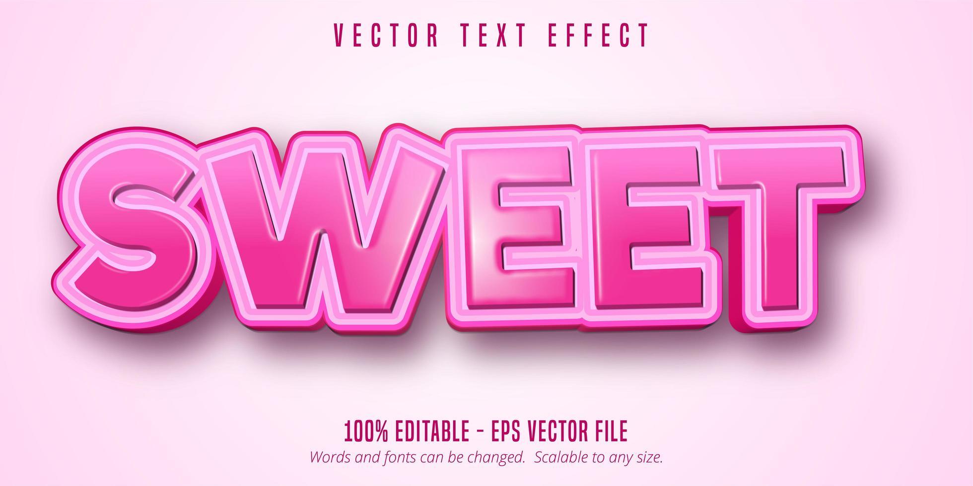 effetto di testo modificabile in stile cartone animato rosa dolce vettore