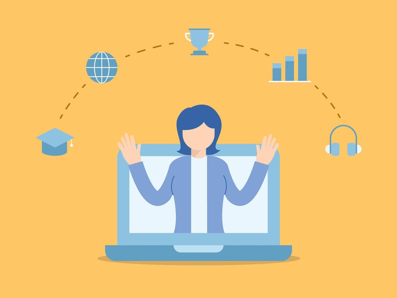 donna che insegna online nel computer portatile vettore