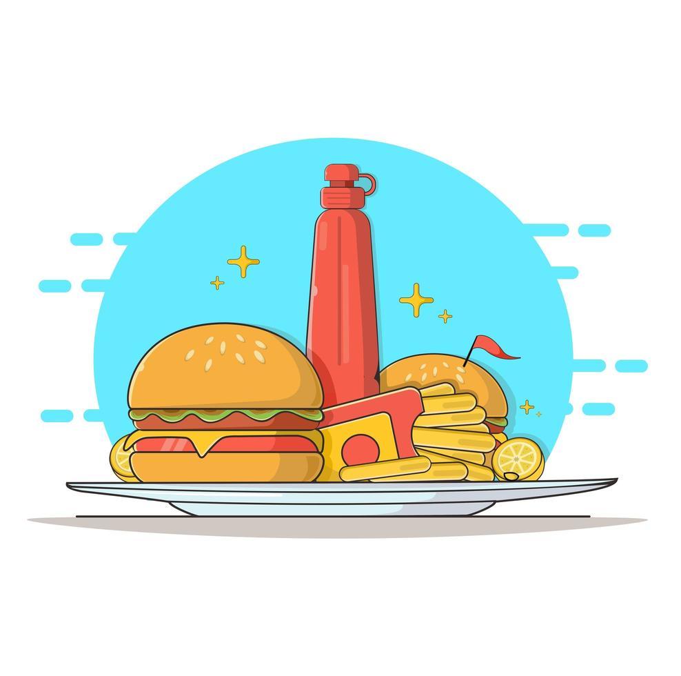 disegno dell'icona di fast food vettore