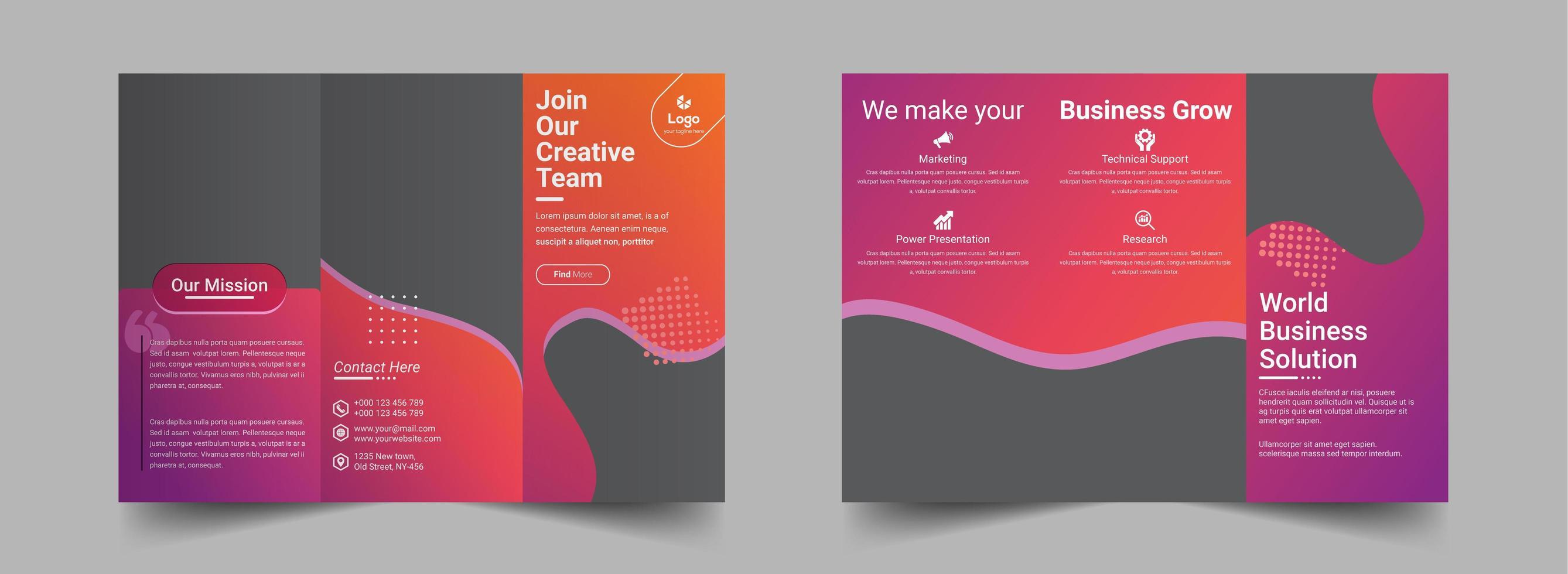 modello di progettazione brochure a tre gradiente sfumatura rosa arancione vettore