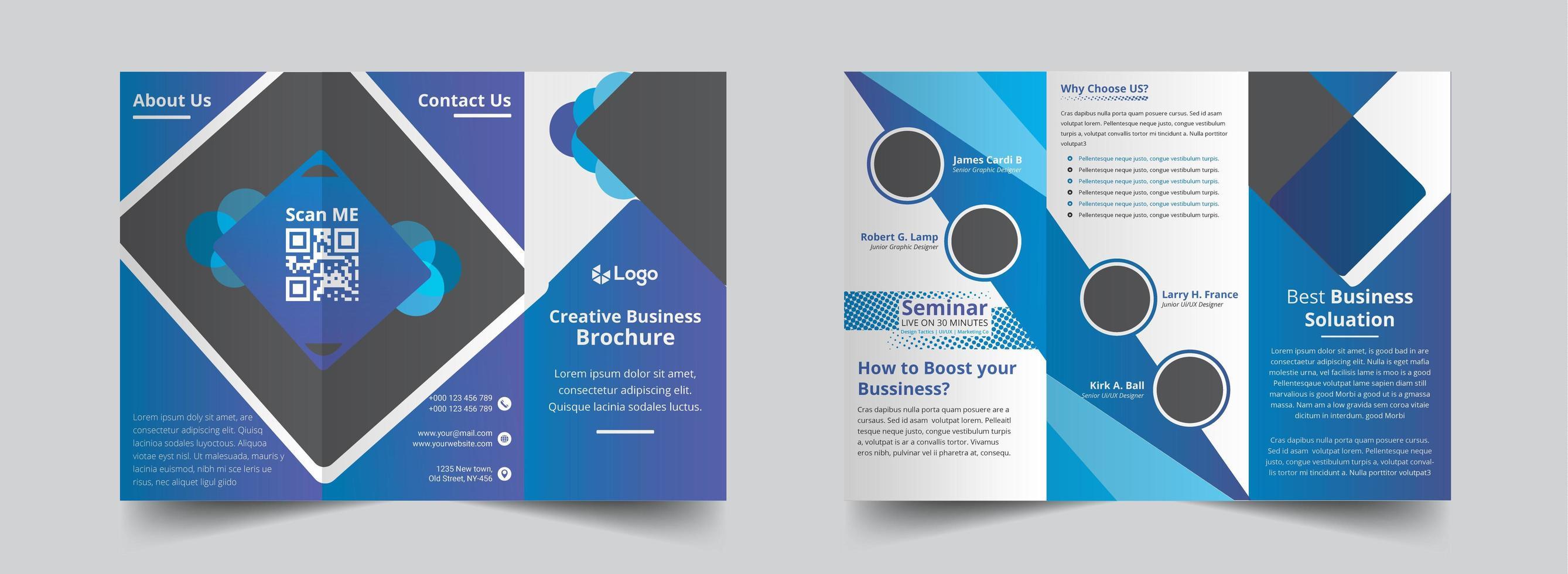 modello di brochure a tre gradiente blu creativo vettore
