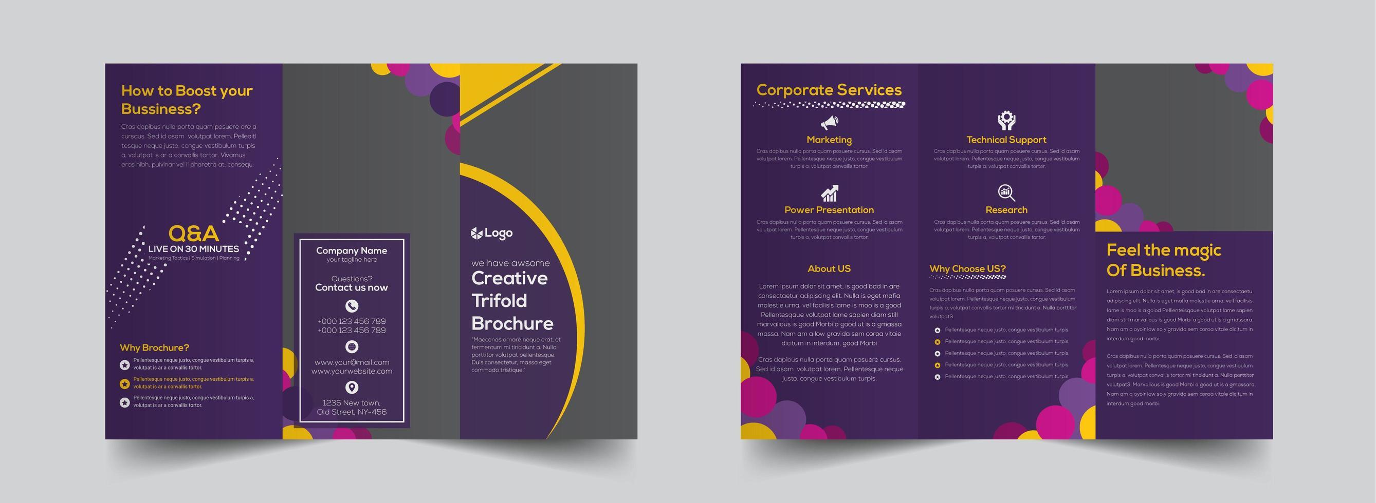 modello di brochure a tre ante aziendale viola brillante vettore