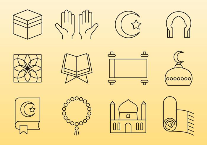 Icone della linea islamica vettore