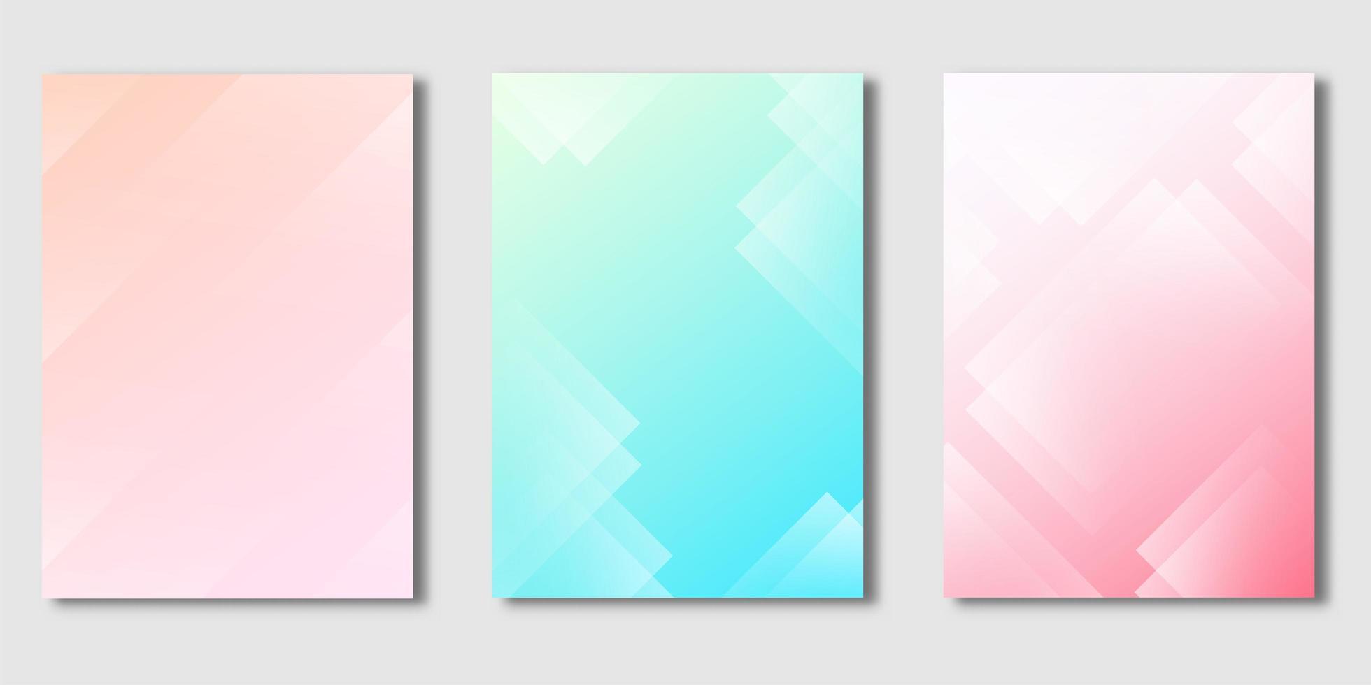 set copertina con disegno rettangolo trasparente su gradiente pastello vettore