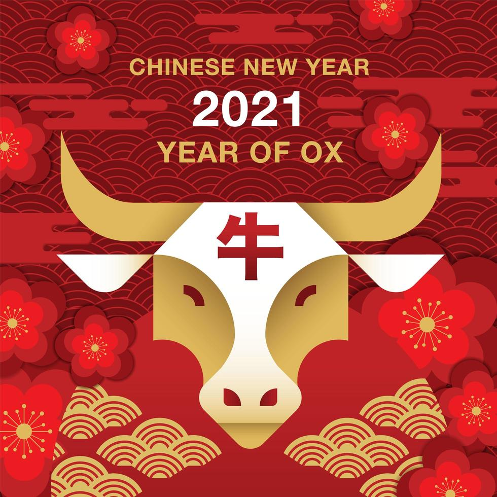 Bandiera cinese del nuovo anno 2021 con testa di bue vettore