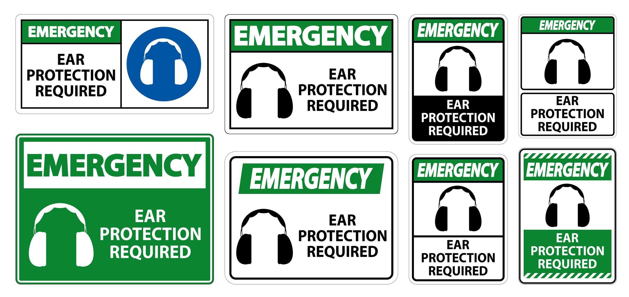 protezione per le orecchie di emergenza richiesto segno simbolo vettore