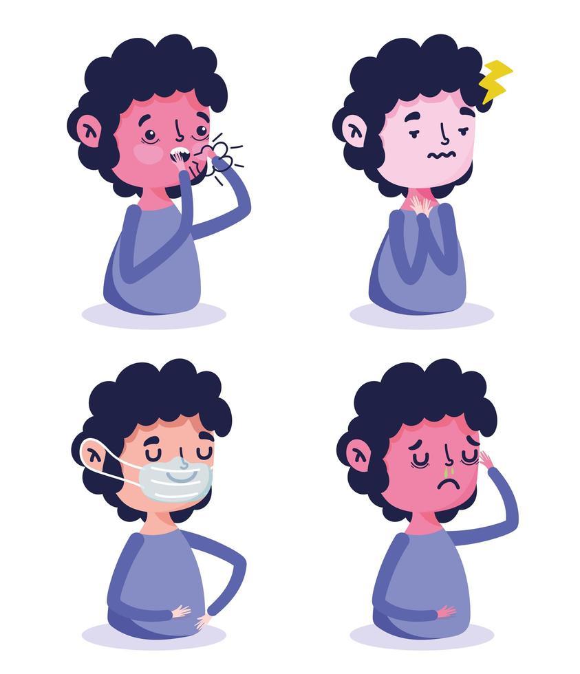 bambino con sintomi di malattia vettore
