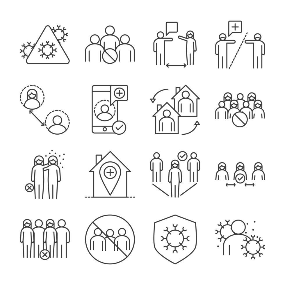 diffusione icona set di icone stile linea vettoriale