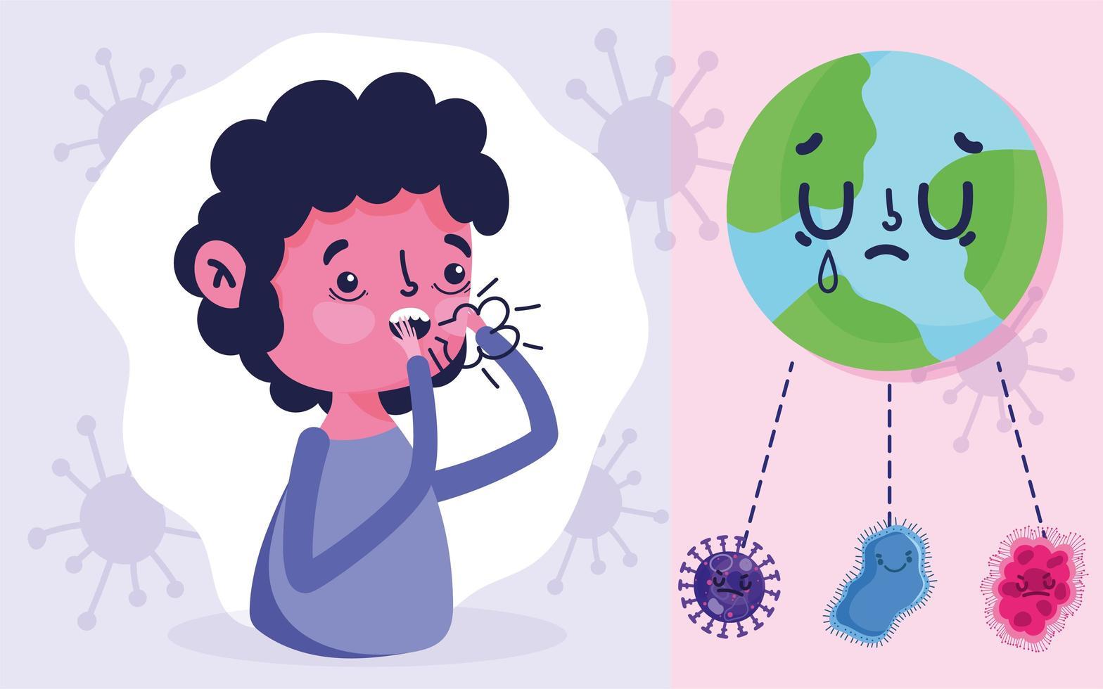 covid 19 design pandemico con ragazzo che tossisce con la febbre vettore