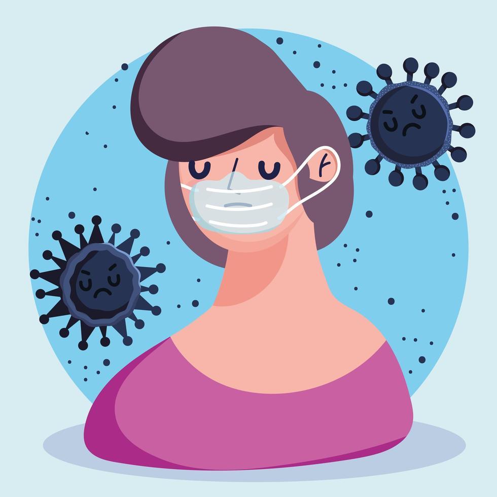 covid 19 persona cartone animato pandemica con maschera protettiva vettore