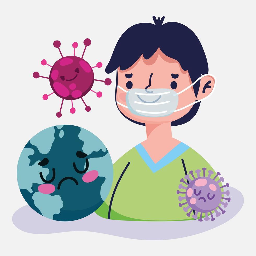 covid 19 design pandemico con ragazzo con mascherina medica vettore