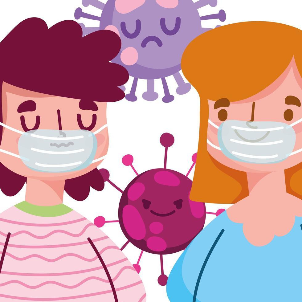 covid 19 design pandemico con ragazzo e ragazza con maschera protettiva vettore
