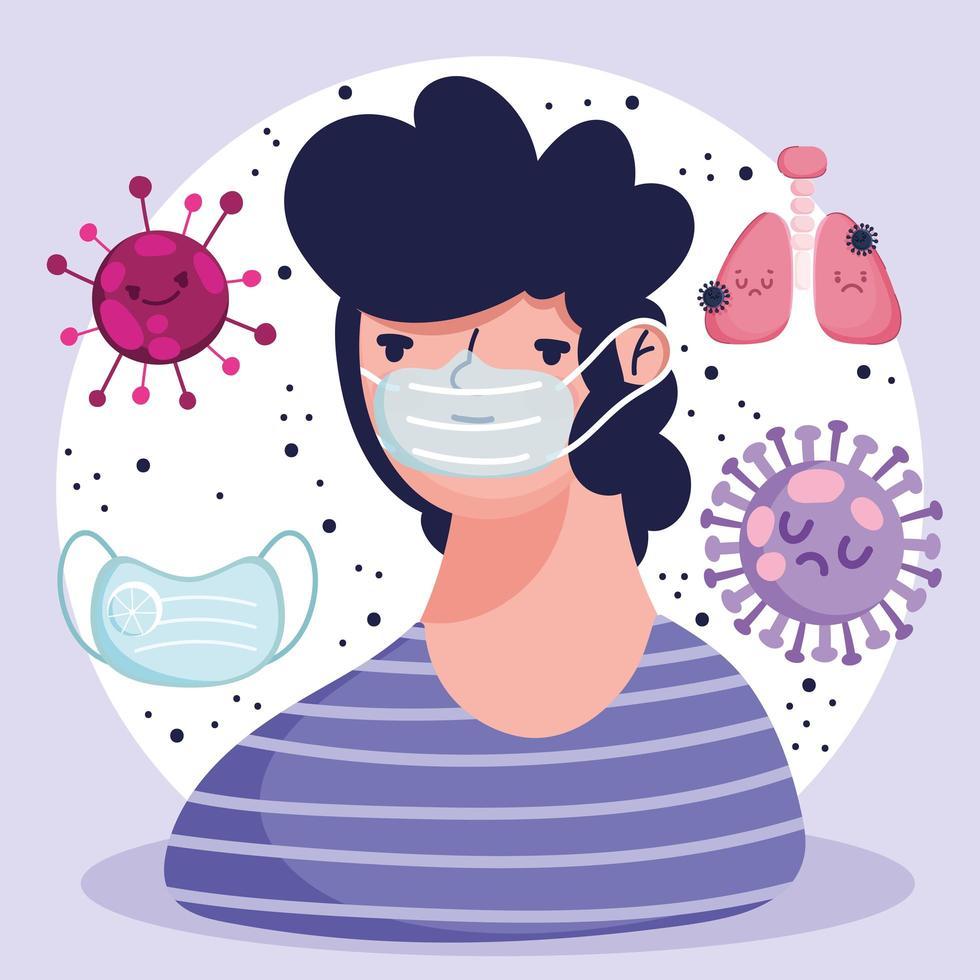 covid 19 cartone animato pandemia con maschera protettiva polmone malato vettore