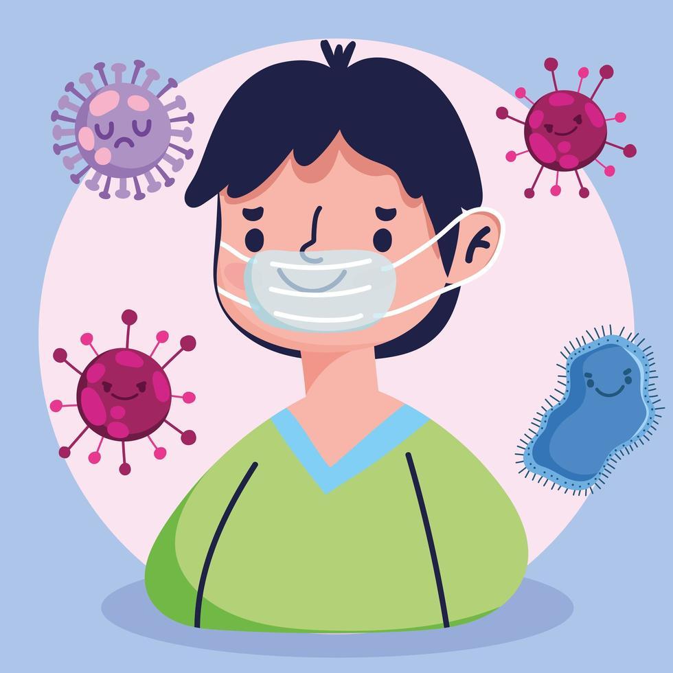 covida 19 pandemia con ragazzo che indossa una maschera protettiva vettore