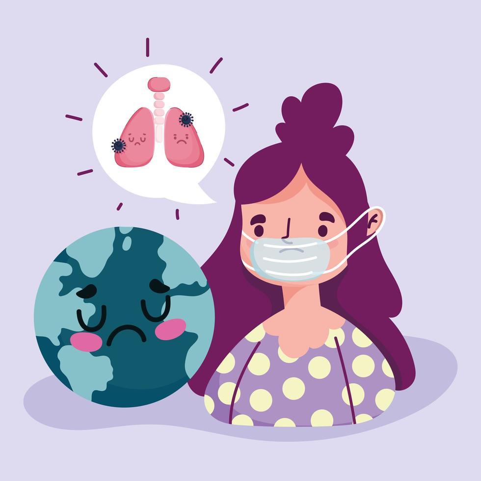 covide 19 pandemia con ragazza malata design mondiale vettore