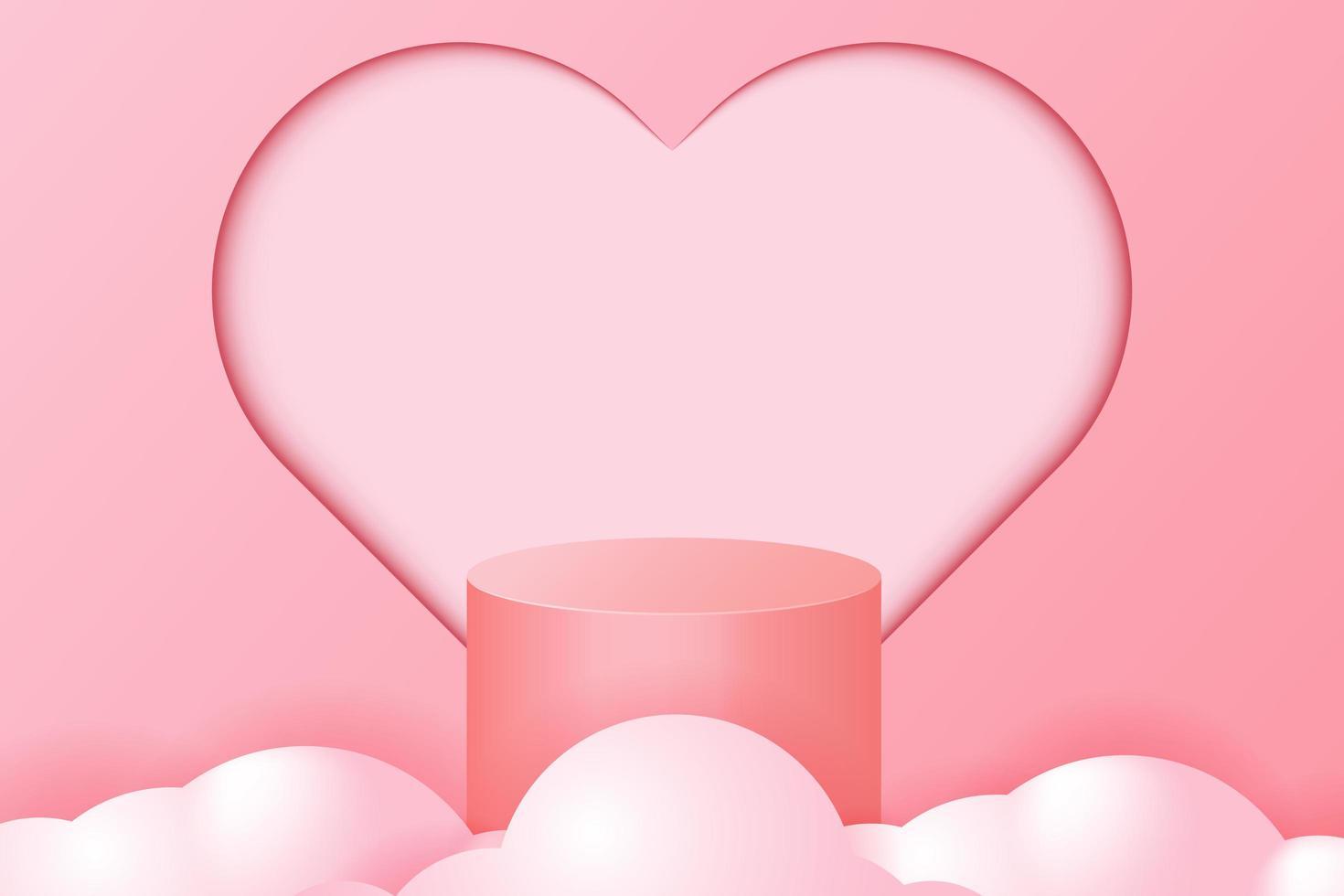 Cilindro vuoto rosa 3d con cuore vettore