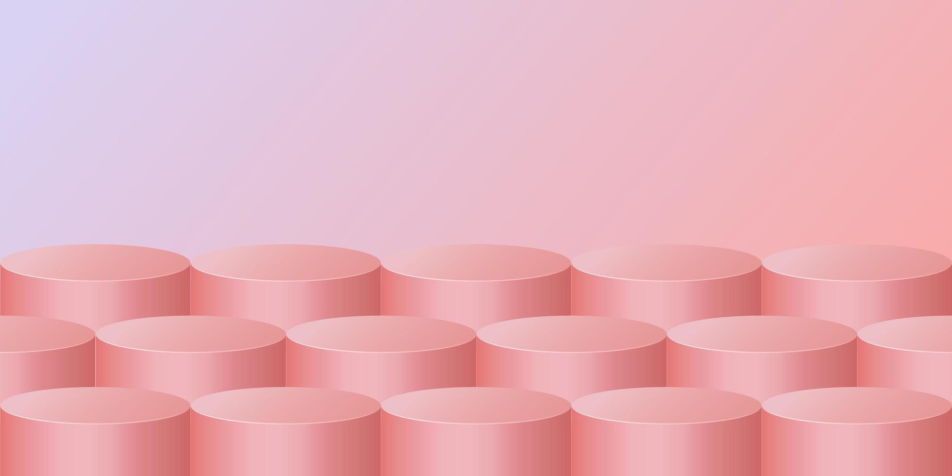 disegno cilindro 3d rosa pastello vettore