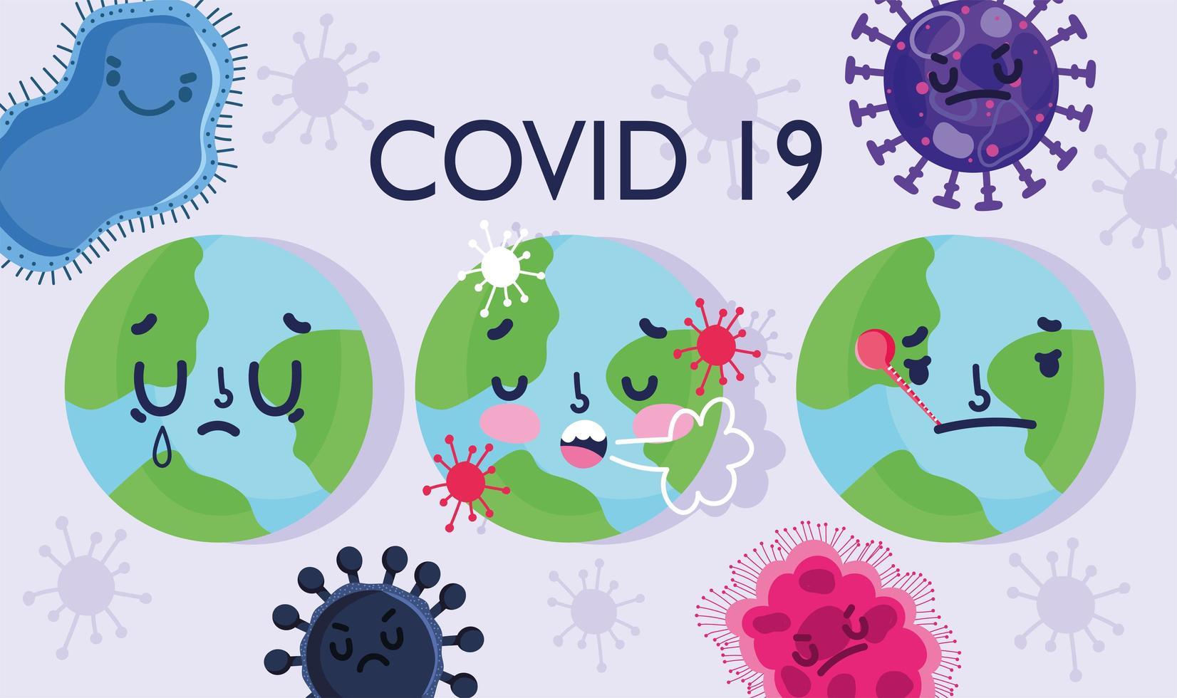 covid 19 virus pandemic poster design con mondi vettore