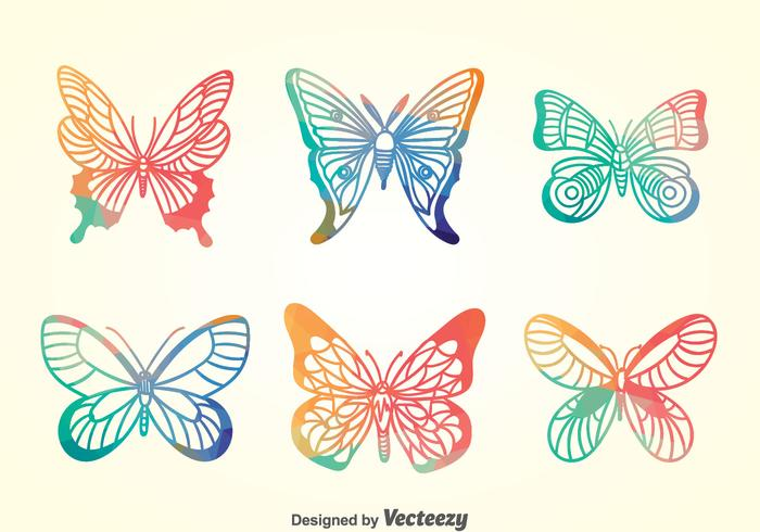 Set di farfalle colorate vettore