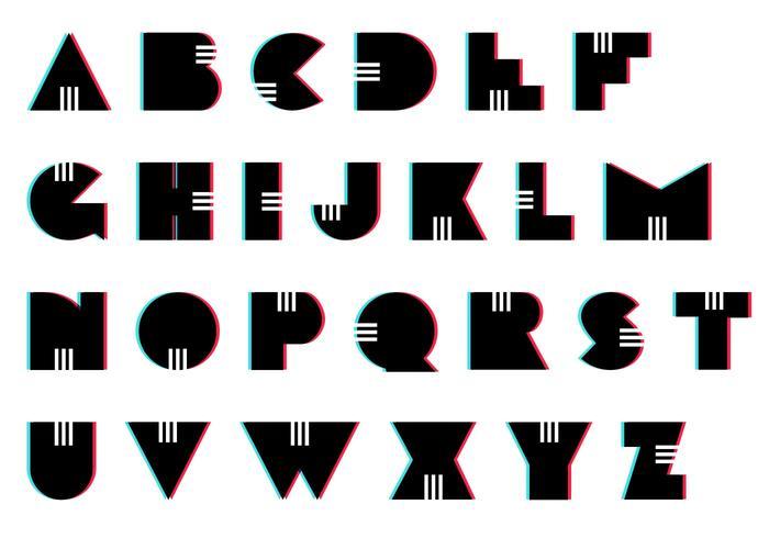 letras set: retro vettore