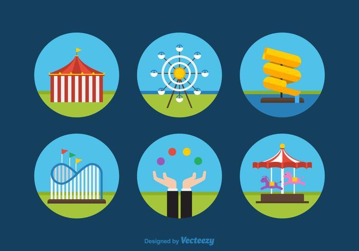 Icone di vettore del parco divertimenti piatto gratuito