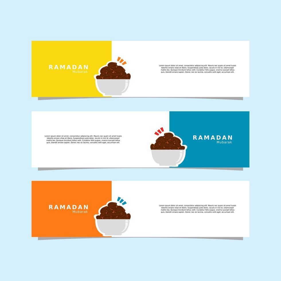 striscione ramadhan kareem con ciotola che contiene date vettore