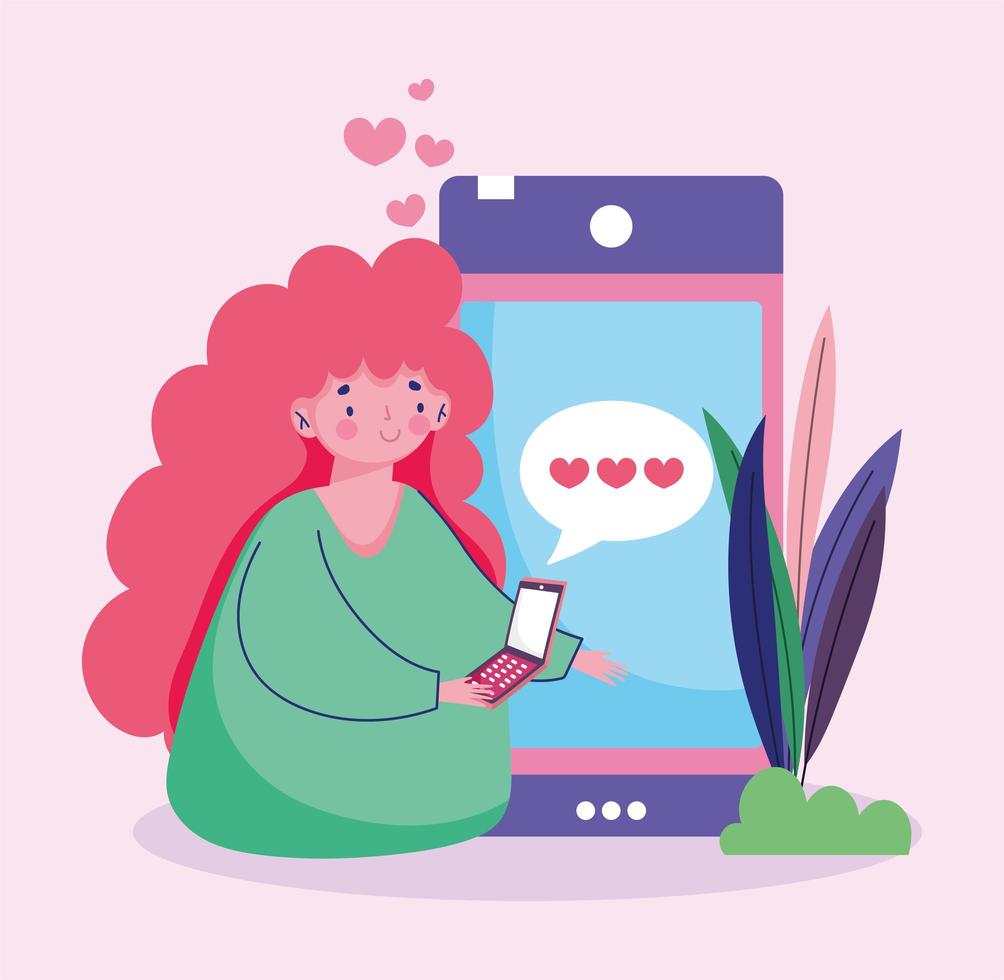 giovane donna con sms smartphone amore romantico vettore