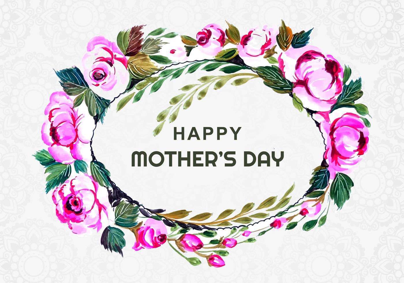 festa della mamma corona di fiori ovale sul modello vettore