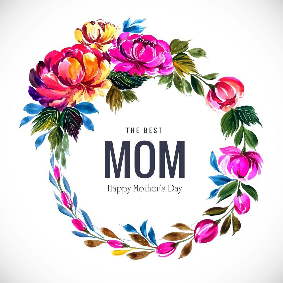 cornice floreale festa della mamma con foglie multicolore vettore