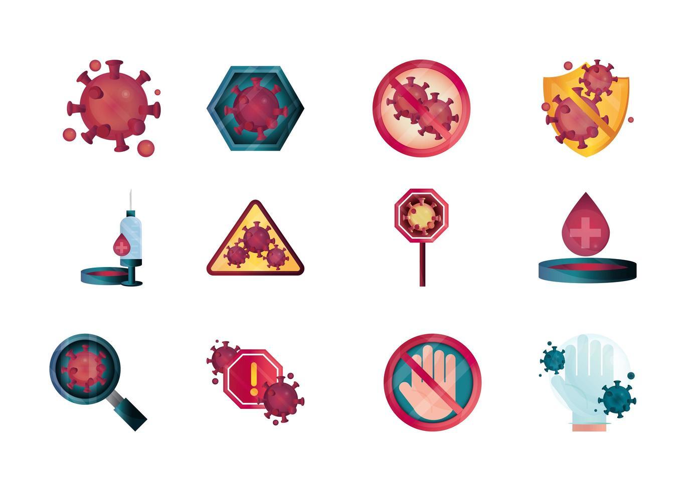 fermare le icone di coronavirus impostate vettore