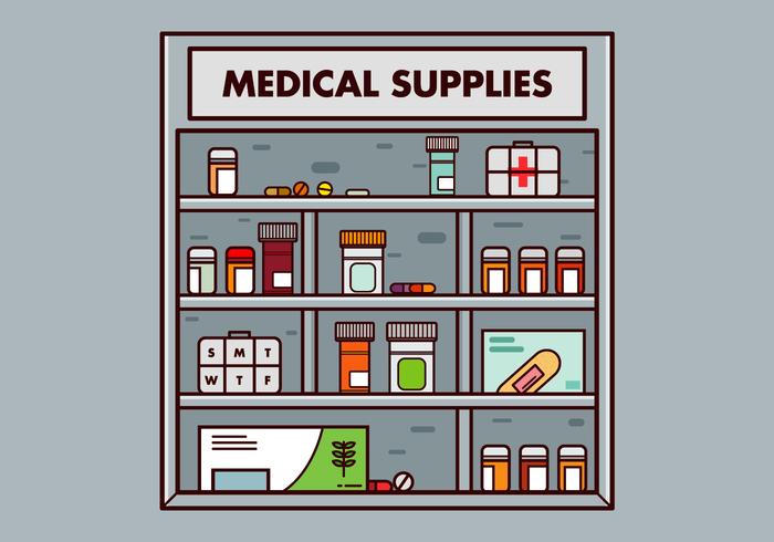 Vettore gratuito della scatola della pillola e dei rifornimenti medici