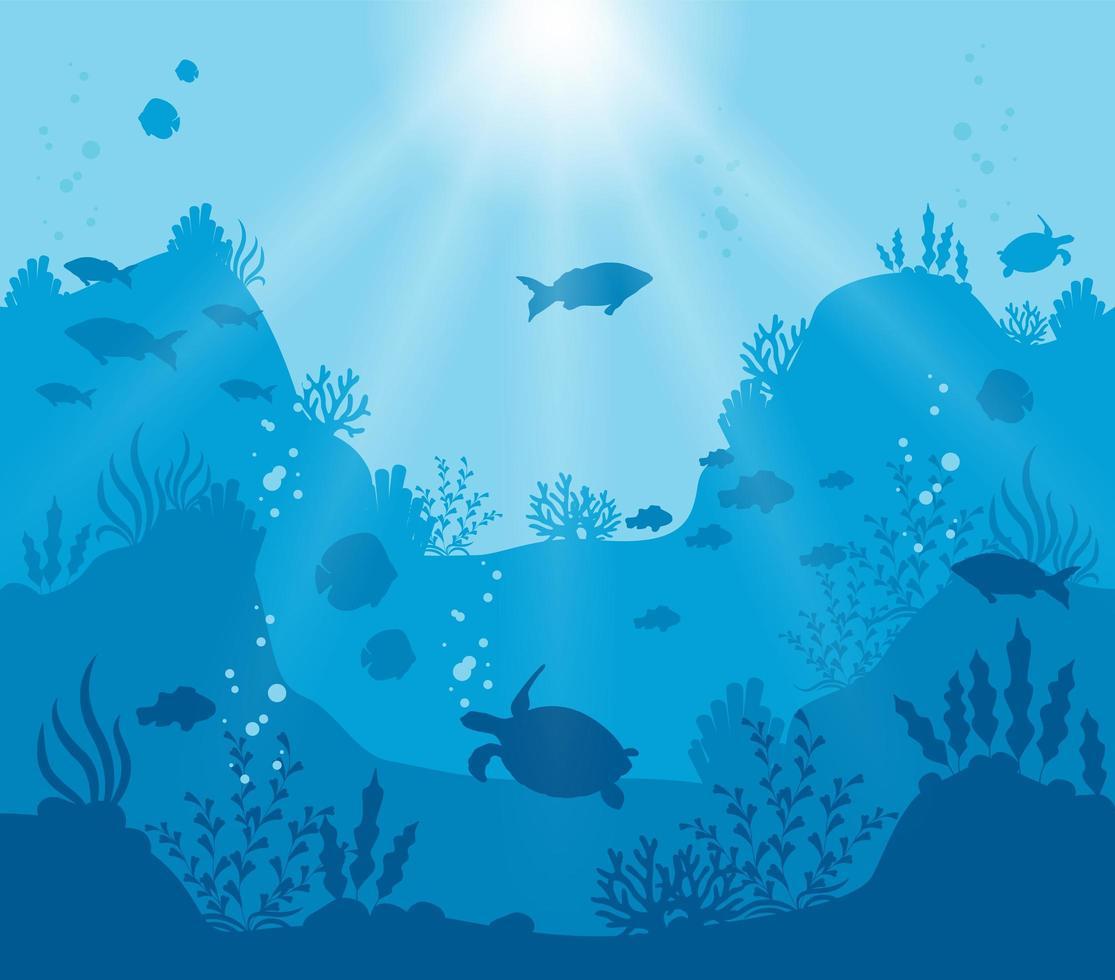sagoma blu profondo del mondo sottomarino vettore