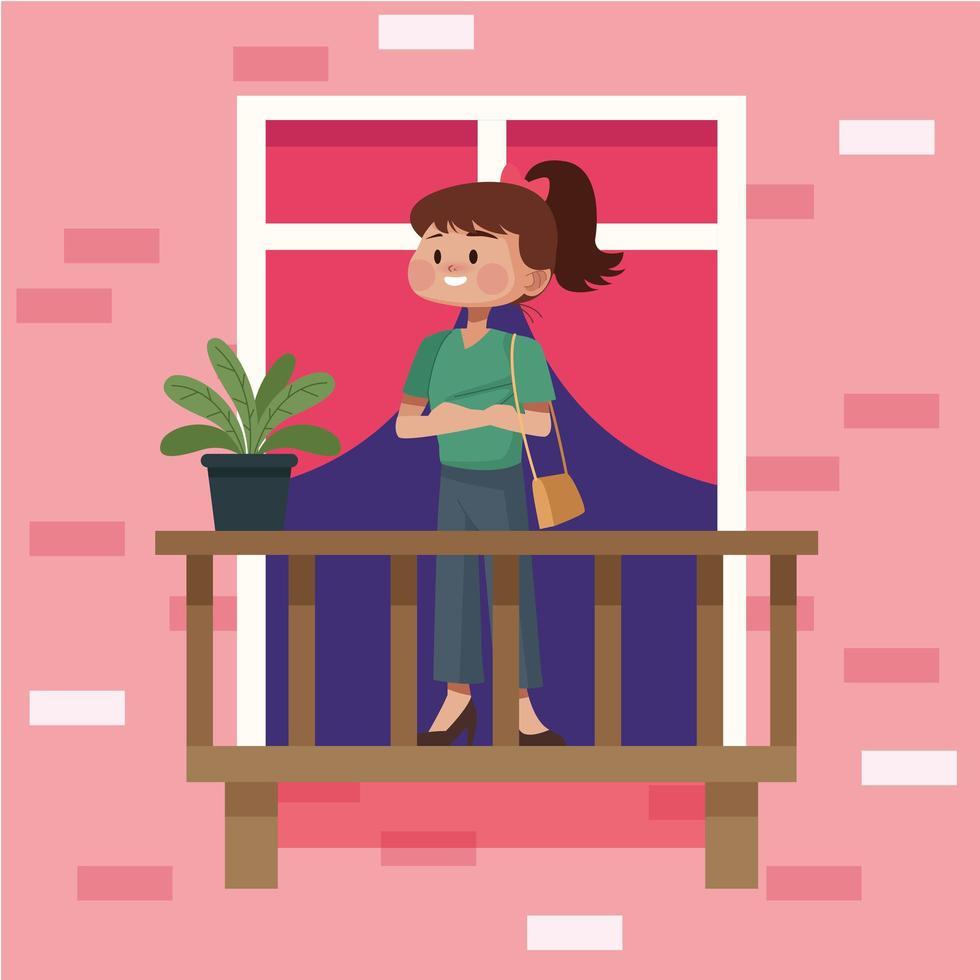 donna sul balcone dell'appartamento vettore